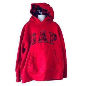 GAP KIDS red and buffalo print hoodie size M/8